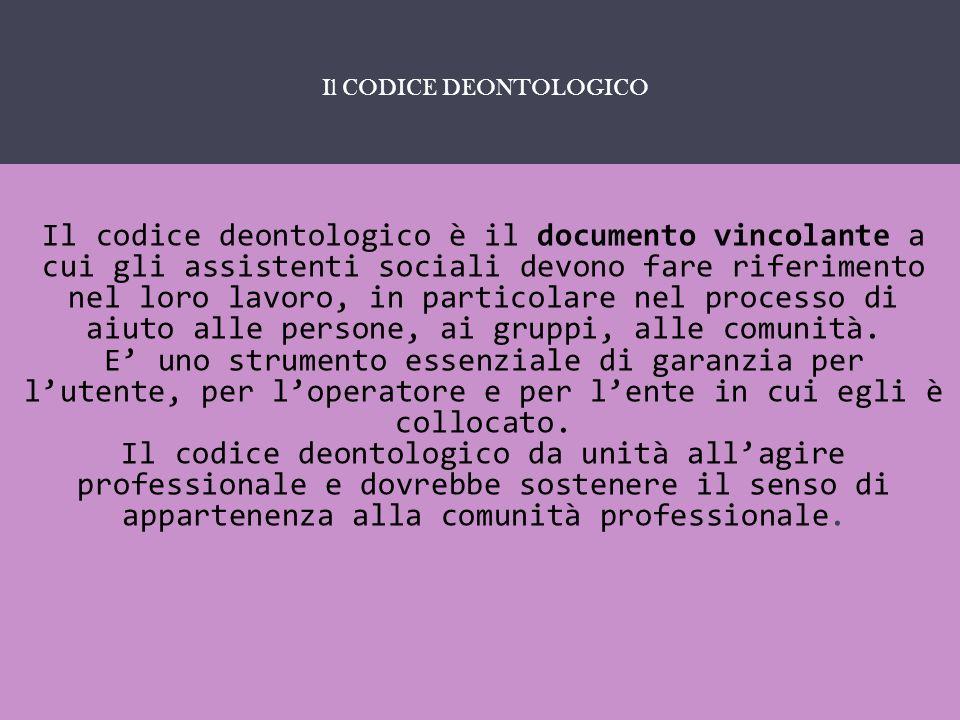 IL SERVIZIO SOCIALE COME … Il codice deontologico è il documento vincolante a cui gli assistenti sociali devono fare riferimento nel loro lavoro, in p