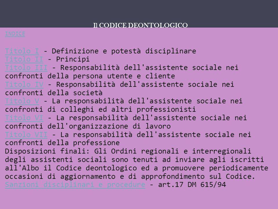 IL SERVIZIO SOCIALE COME … INDICE Titolo ITitolo I - Definizione e potestà disciplinare Titolo II - Principi Titolo III - Responsabilità dell'assisten