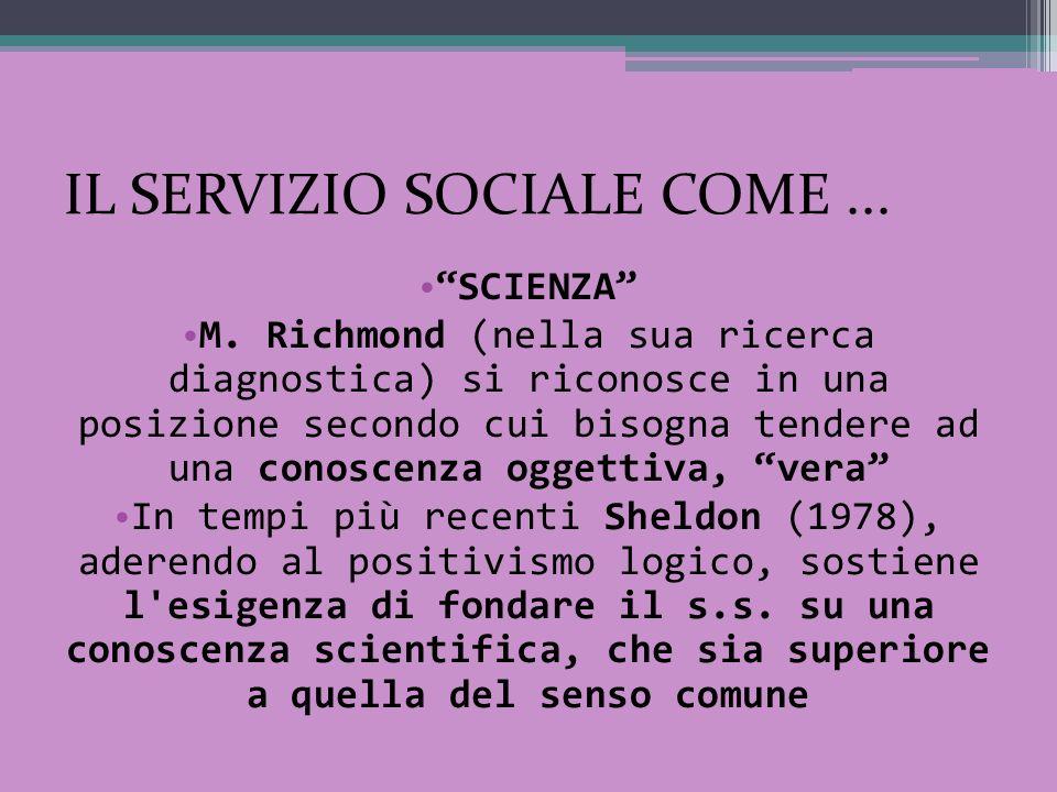 IL SERVIZIO SOCIALE COME... SCIENZA M. Richmond (nella sua ricerca diagnostica) si riconosce in una posizione secondo cui bisogna tendere ad una conos