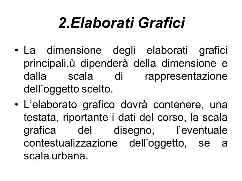 2.Elaborati Grafici La dimensione degli elaborati grafici principali,ù dipenderà della dimensione e dalla scala di rappresentazione delloggetto scelto.