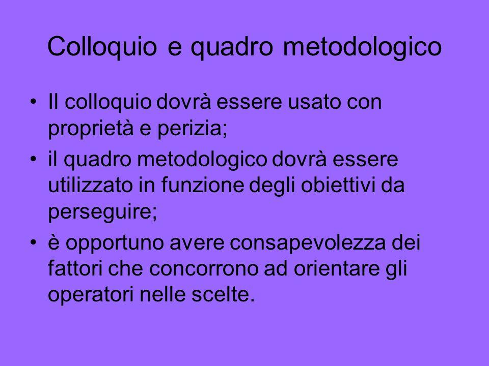 Colloquio e quadro metodologico Il colloquio dovrà essere usato con proprietà e perizia; il quadro metodologico dovrà essere utilizzato in funzione de
