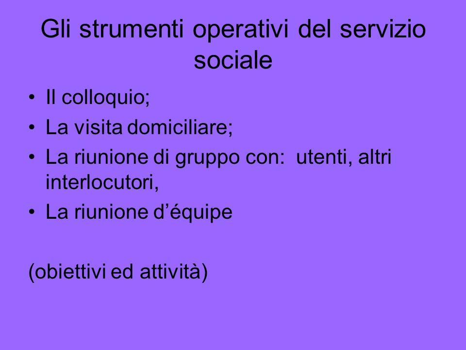 Gli strumenti operativi del servizio sociale Il colloquio; La visita domiciliare; La riunione di gruppo con: utenti, altri interlocutori, La riunione