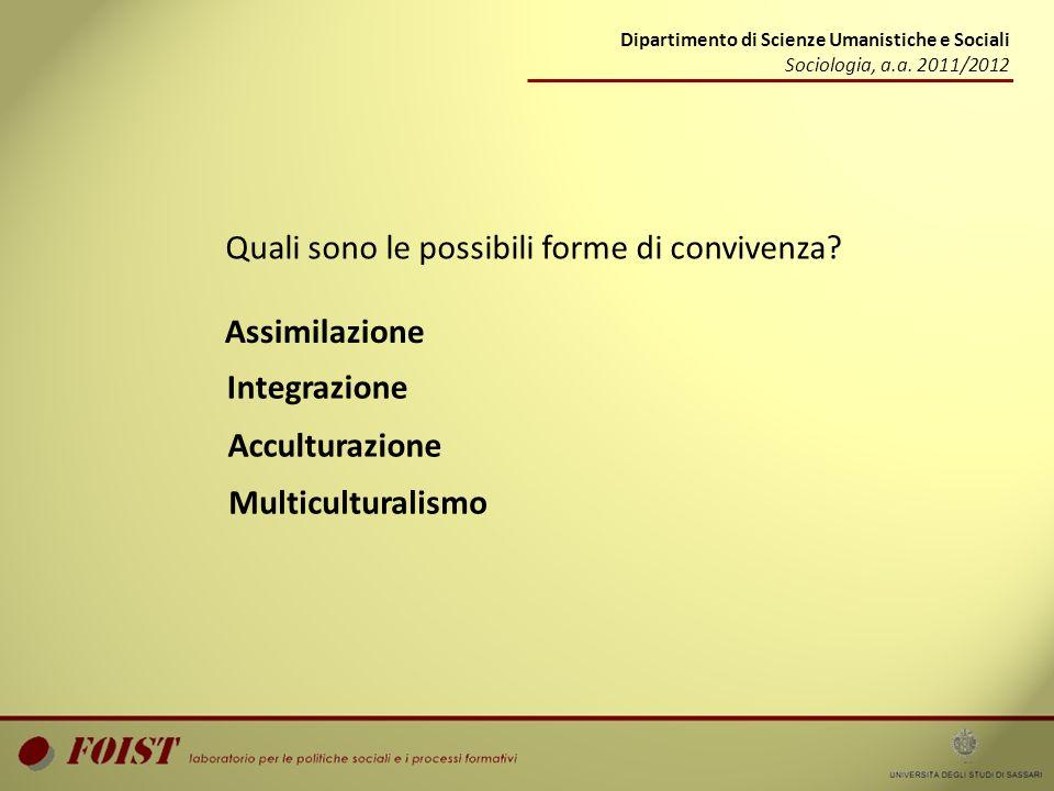 Dipartimento di Scienze Umanistiche e Sociali Sociologia, a.a. 2011/2012 Quali sono le possibili forme di convivenza? Assimilazione Integrazione Accul