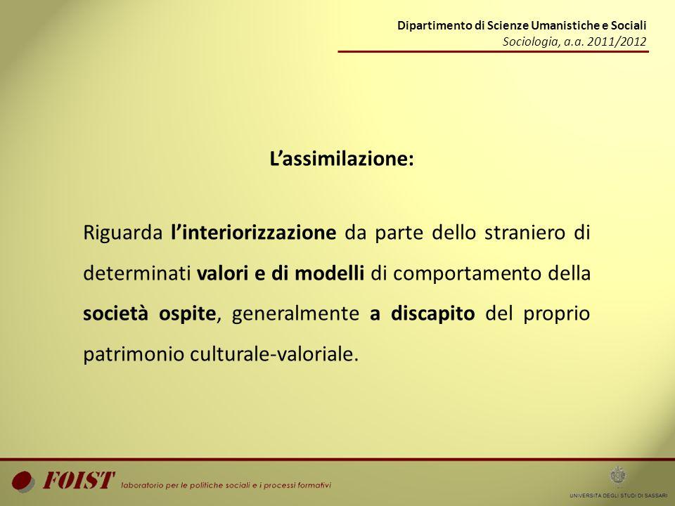 Dipartimento di Scienze Umanistiche e Sociali Sociologia, a.a. 2011/2012 Lassimilazione: Riguarda linteriorizzazione da parte dello straniero di deter