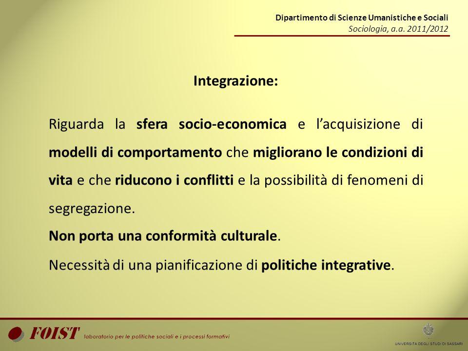 Dipartimento di Scienze Umanistiche e Sociali Sociologia, a.a. 2011/2012 Integrazione: Riguarda la sfera socio-economica e lacquisizione di modelli di
