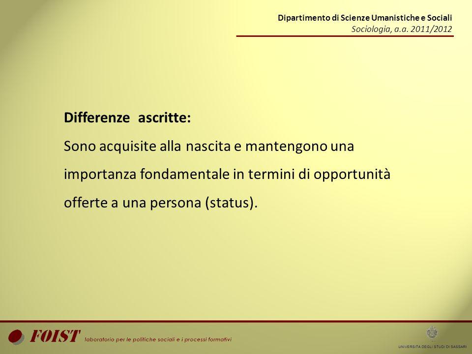 Differenze ascritte: Sono acquisite alla nascita e mantengono una importanza fondamentale in termini di opportunità offerte a una persona (status). Di