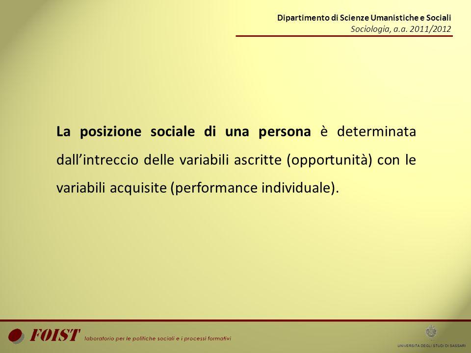La posizione sociale di una persona è determinata dallintreccio delle variabili ascritte (opportunità) con le variabili acquisite (performance individ