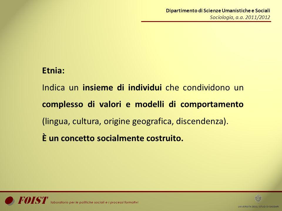 Dipartimento di Scienze Umanistiche e Sociali Sociologia, a.a. 2011/2012 Etnia: Indica un insieme di individui che condividono un complesso di valori