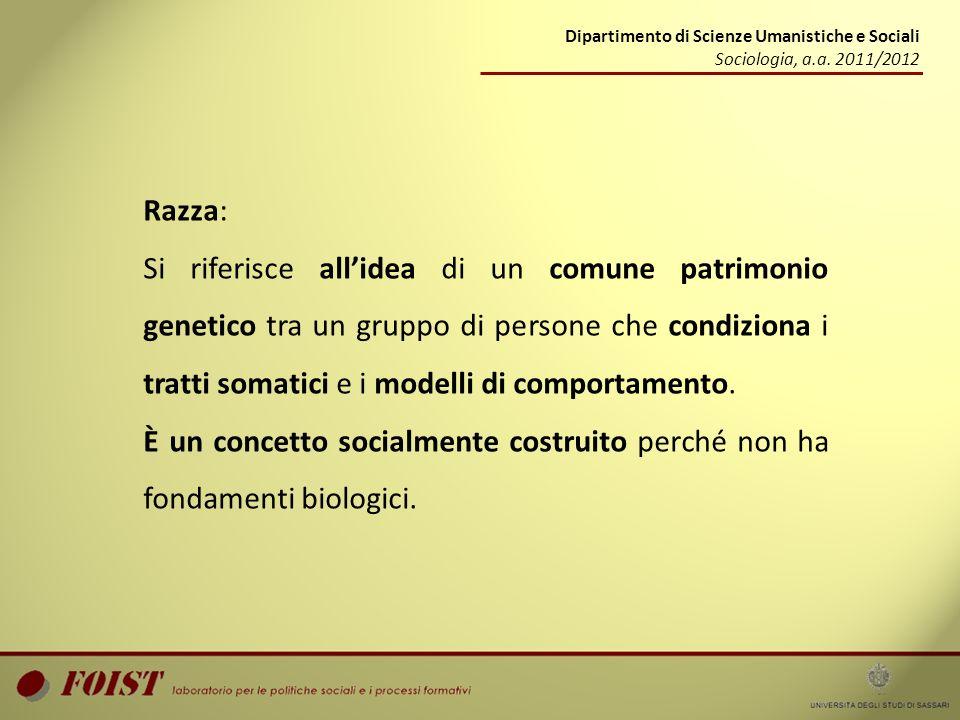 Dipartimento di Scienze Umanistiche e Sociali Sociologia, a.a. 2011/2012 Razza: Si riferisce allidea di un comune patrimonio genetico tra un gruppo di