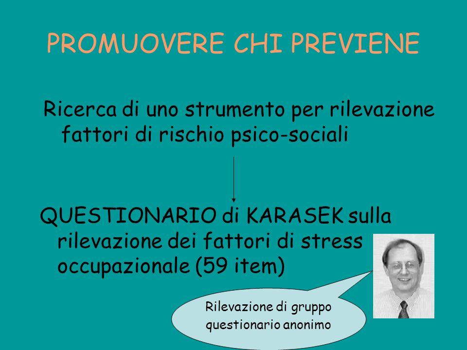PROMUOVERE CHI PREVIENE QUESTIONARIO di KARASEK sulla rilevazione dei fattori di stress occupazionale (59 item) Ricerca di uno strumento per rilevazio