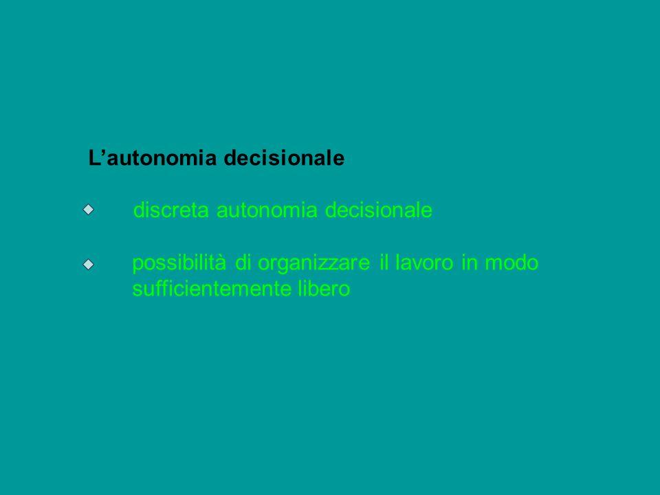 Lautonomia decisionale discreta autonomia decisionale possibilità di organizzare il lavoro in modo sufficientemente libero