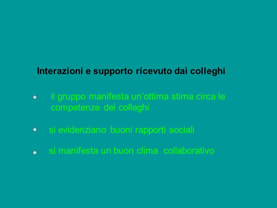 Interazioni e supporto ricevuto dai colleghi il gruppo manifesta unottima stima circa le competenze dei colleghi si evidenziano buoni rapporti sociali