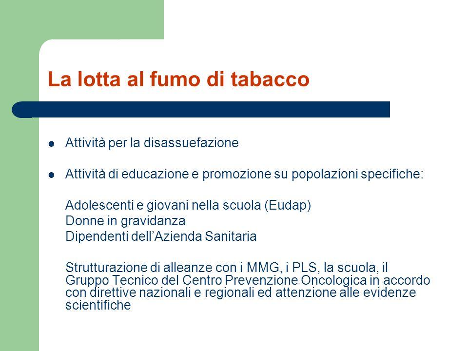 La lotta al fumo di tabacco Attività per la disassuefazione Attività di educazione e promozione su popolazioni specifiche: Adolescenti e giovani nella