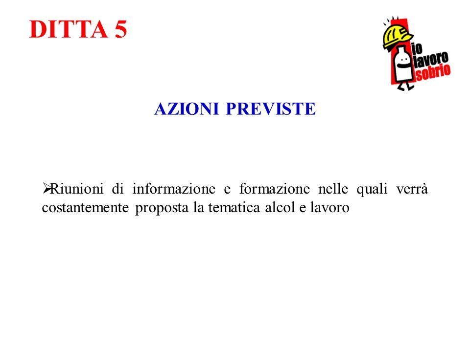 DITTA 5 AZIONI PREVISTE Riunioni di informazione e formazione nelle quali verrà costantemente proposta la tematica alcol e lavoro