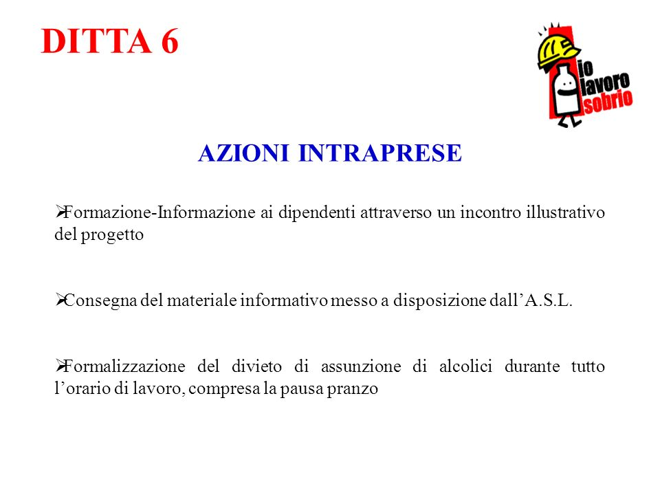 DITTA 6 AZIONI INTRAPRESE Formazione-Informazione ai dipendenti attraverso un incontro illustrativo del progetto Consegna del materiale informativo me