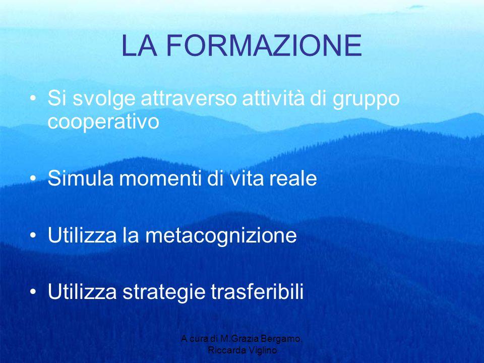 A cura di M.Grazia Bergamo, Riccarda Viglino LA FORMAZIONE Si svolge attraverso attività di gruppo cooperativo Simula momenti di vita reale Utilizza la metacognizione Utilizza strategie trasferibili