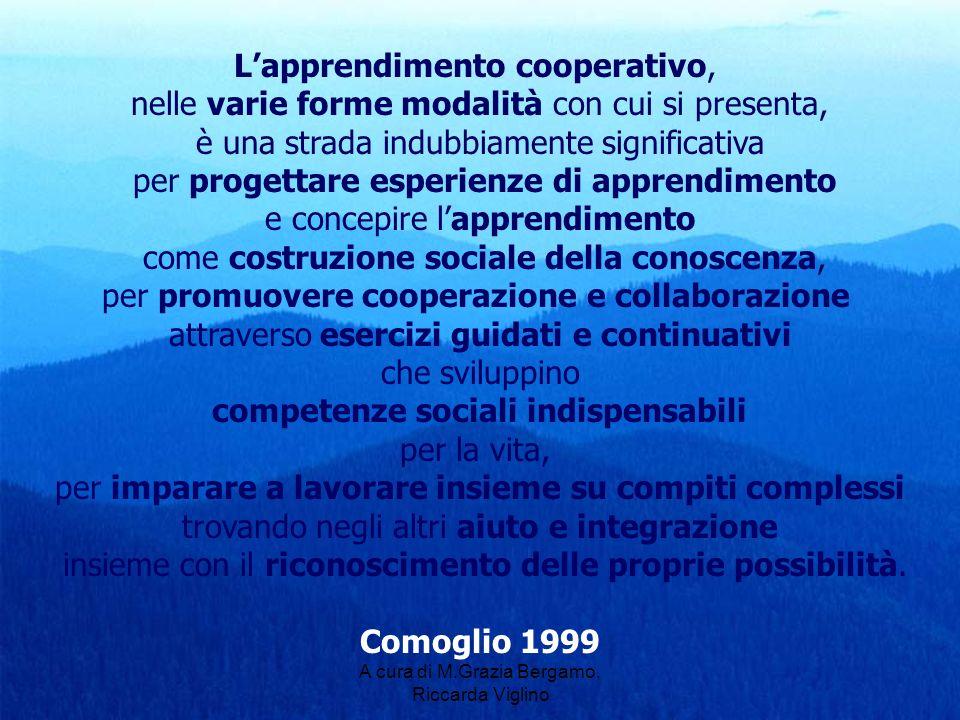 A cura di M.Grazia Bergamo, Riccarda Viglino Lapprendimento cooperativo, nelle varie forme modalità con cui si presenta, è una strada indubbiamente si