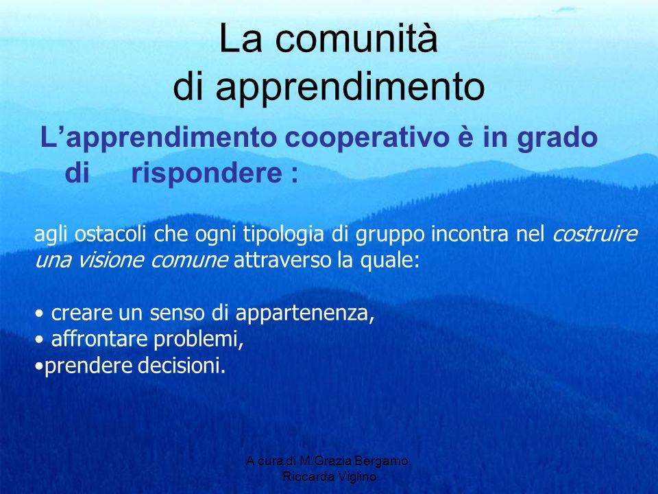 A cura di M.Grazia Bergamo, Riccarda Viglino La comunità di apprendimento Lapprendimento cooperativo è in grado di rispondere : agli ostacoli che ogni