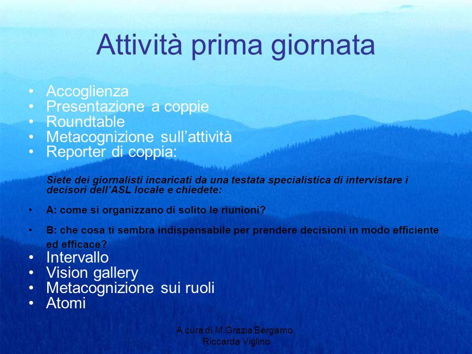 A cura di M.Grazia Bergamo, Riccarda Viglino Attività prima giornata Accoglienza Presentazione a coppie Roundtable Metacognizione sullattività Reporte
