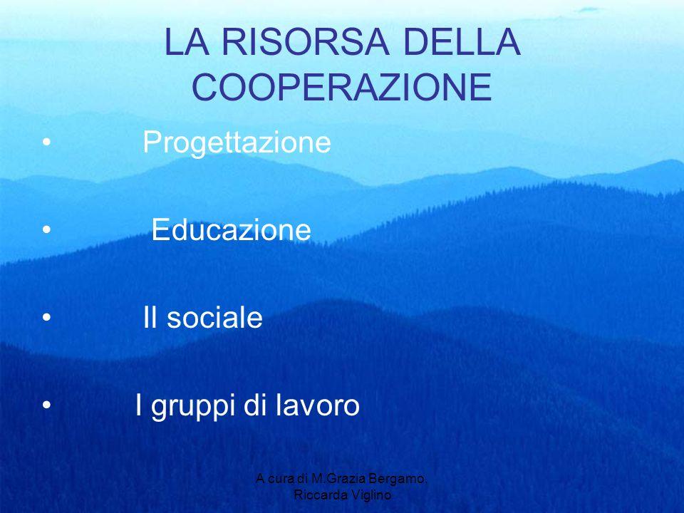 A cura di M.Grazia Bergamo, Riccarda Viglino LA RISORSA DELLA COOPERAZIONE Progettazione Educazione Il sociale I gruppi di lavoro