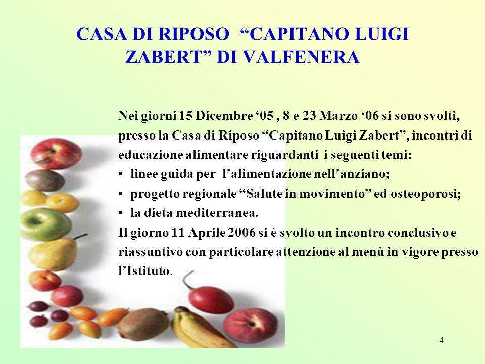 4 Nei giorni 15 Dicembre 05, 8 e 23 Marzo 06 si sono svolti, presso la Casa di Riposo Capitano Luigi Zabert, incontri di educazione alimentare riguard