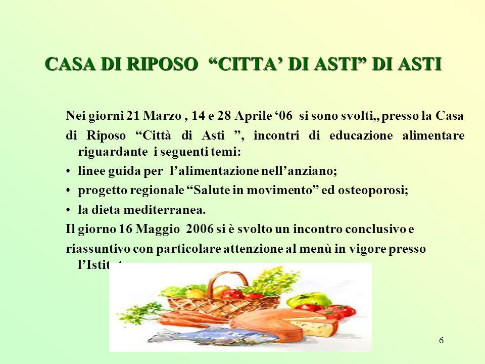 6 CASA DI RIPOSO CITTA DI ASTI DI ASTI Nei giorni 21 Marzo, 14 e 28 Aprile 06 si sono svolti,, presso la Casa di Riposo Città di Asti, incontri di edu