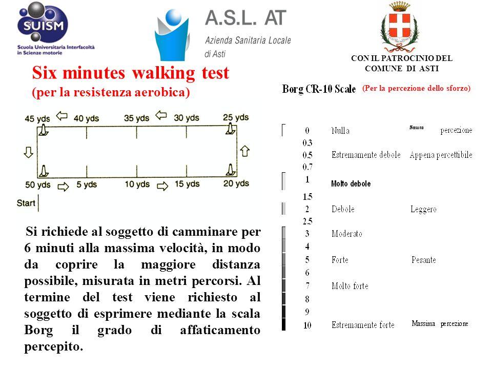 Six minutes walking test (per la resistenza aerobica) Si richiede al soggetto di camminare per 6 minuti alla massima velocità, in modo da coprire la m