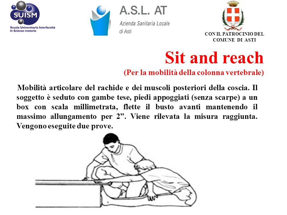 Sit and reach (Per la mobilità della colonna vertebrale) Mobilità articolare del rachide e dei muscoli posteriori della coscia. Il soggetto è seduto c