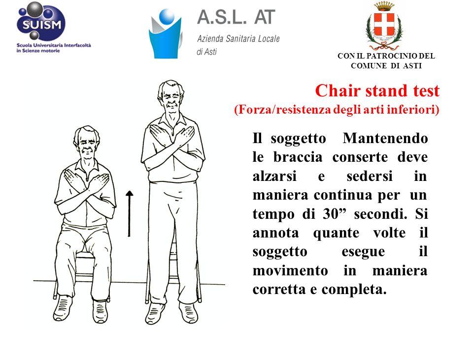 Chair stand test (Forza/resistenza degli arti inferiori) Il soggetto Mantenendo le braccia conserte deve alzarsi e sedersi in maniera continua per un
