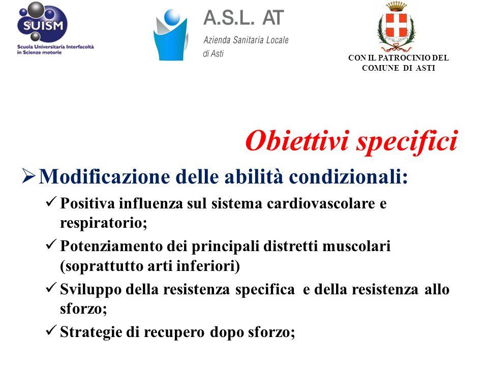 Modificazione delle abilità condizionali: Positiva influenza sul sistema cardiovascolare e respiratorio; Potenziamento dei principali distretti muscol