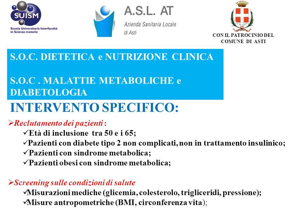 S.O.C. DIETETICA e NUTRIZIONE CLINICA S.O.C. MALATTIE METABOLICHE e DIABETOLOGIA INTERVENTO SPECIFICO: Reclutamento dei pazienti : Età di inclusione t