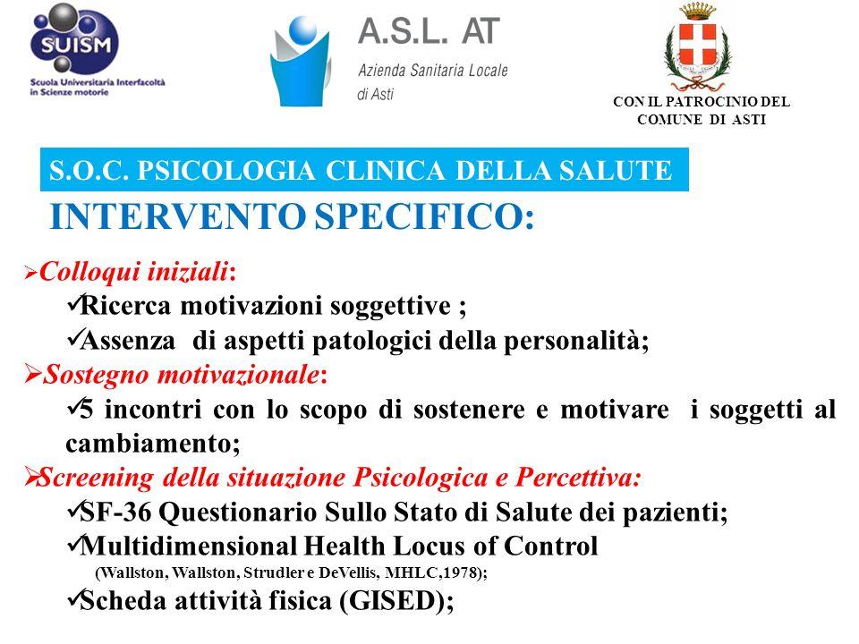 Colloqui iniziali: Ricerca motivazioni soggettive ; Assenza di aspetti patologici della personalità; Sostegno motivazionale: 5 incontri con lo scopo d