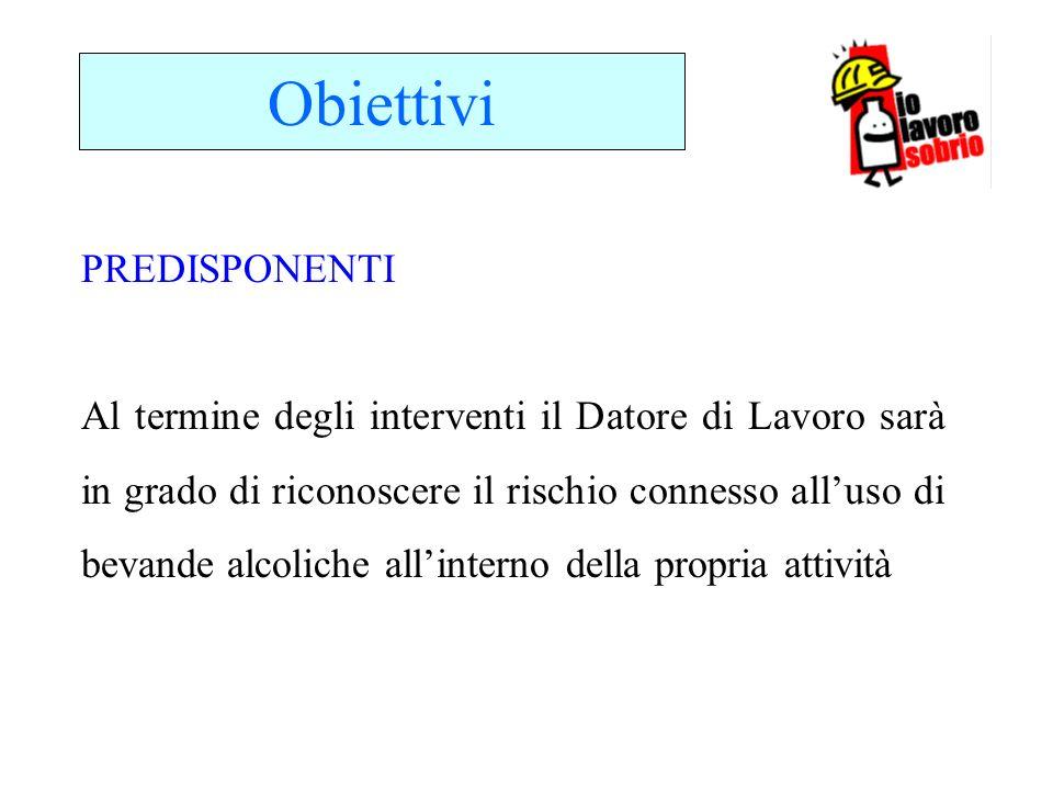 Obiettivi Al termine degli interventi il Datore di Lavoro sarà in grado di riconoscere il rischio connesso alluso di bevande alcoliche allinterno dell