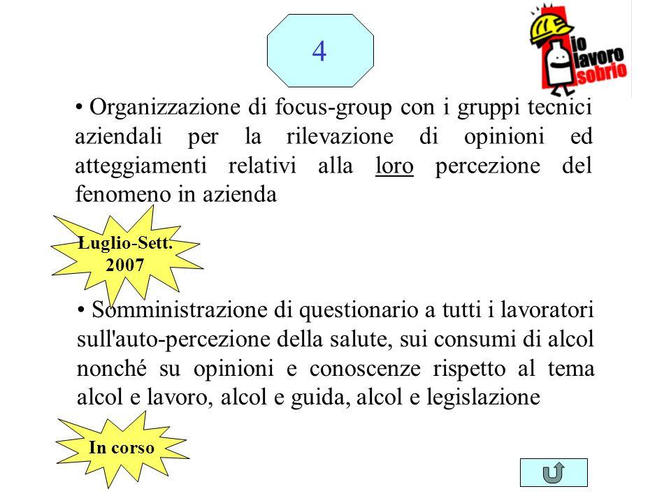 Organizzazione di focus-group con i gruppi tecnici aziendali per la rilevazione di opinioni ed atteggiamenti relativi alla loro percezione del fenomen