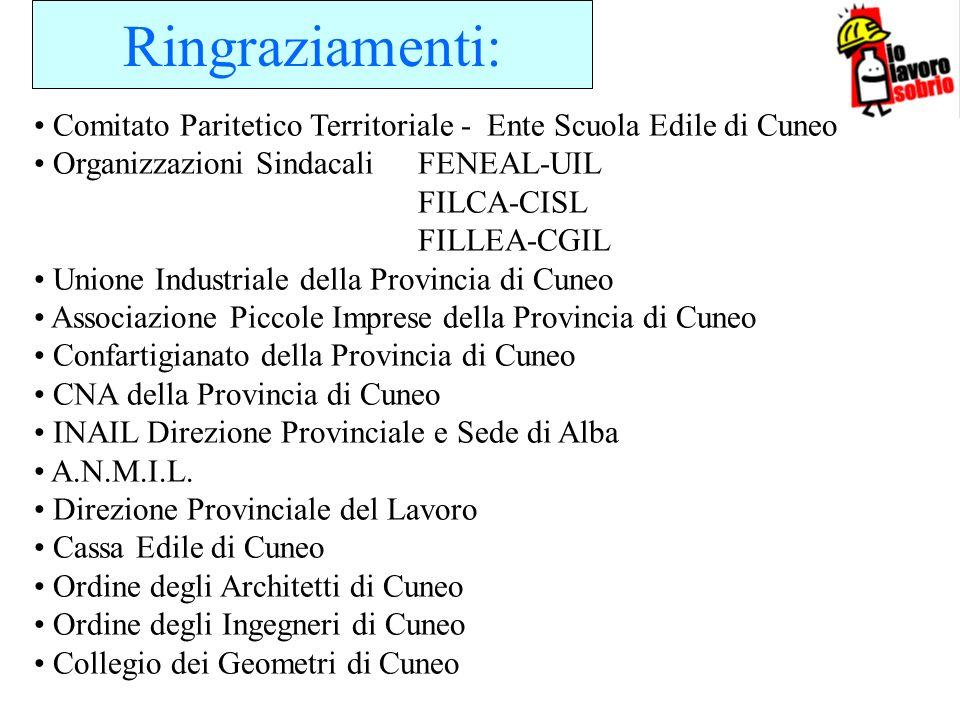 Ringraziamenti: Comitato Paritetico Territoriale - Ente Scuola Edile di Cuneo Organizzazioni Sindacali FENEAL-UIL FILCA-CISL FILLEA-CGIL Unione Indust