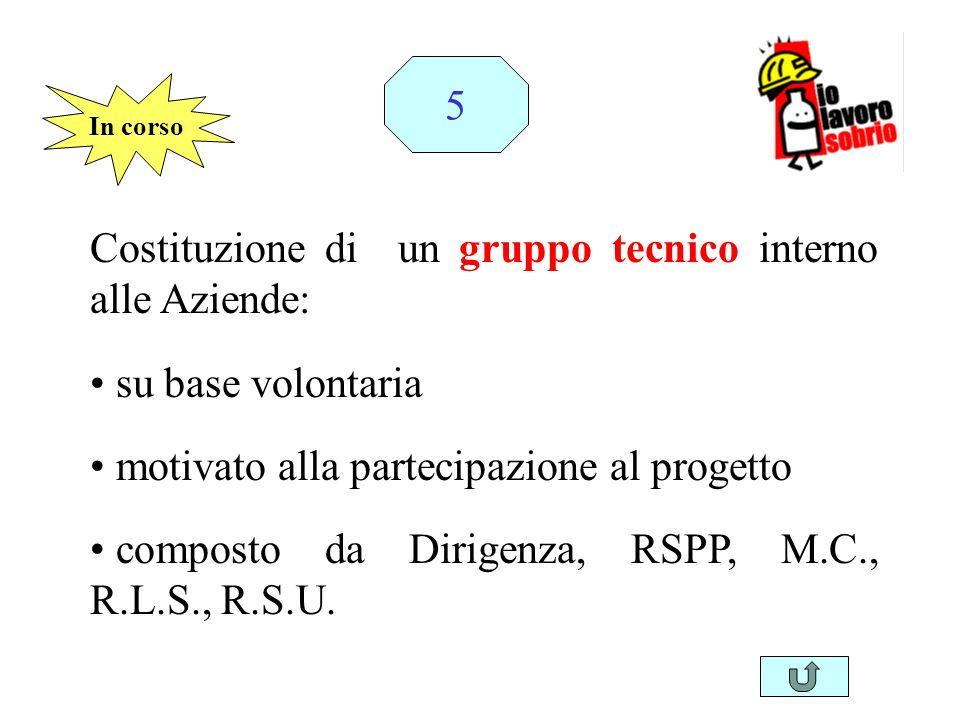 Costituzione di un gruppo tecnico interno alle Aziende: su base volontaria motivato alla partecipazione al progetto composto da Dirigenza, RSPP, M.C.,
