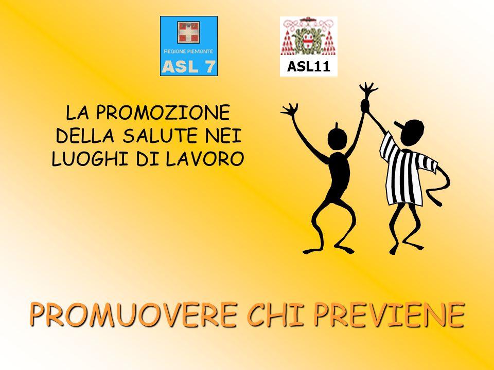 LA PROMOZIONE DELLA SALUTE NEI LUOGHI DI LAVORO PROMUOVERE CHI PREVIENE ASL11
