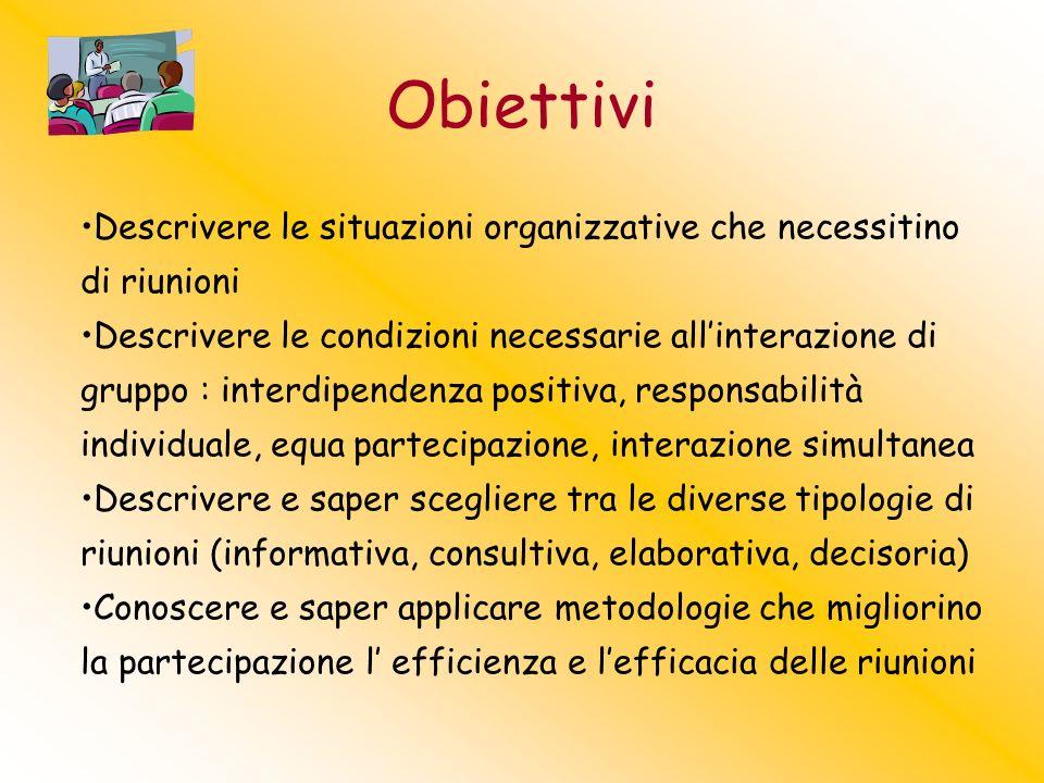 Obiettivi Descrivere le situazioni organizzative che necessitino di riunioni Descrivere le condizioni necessarie allinterazione di gruppo : interdipen