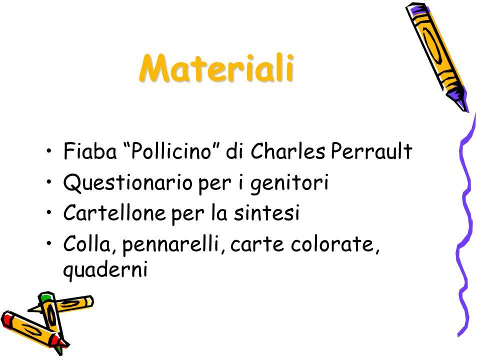Fiaba Pollicino di Charles Perrault Questionario per i genitori Cartellone per la sintesi Colla, pennarelli, carte colorate, quaderni Materiali