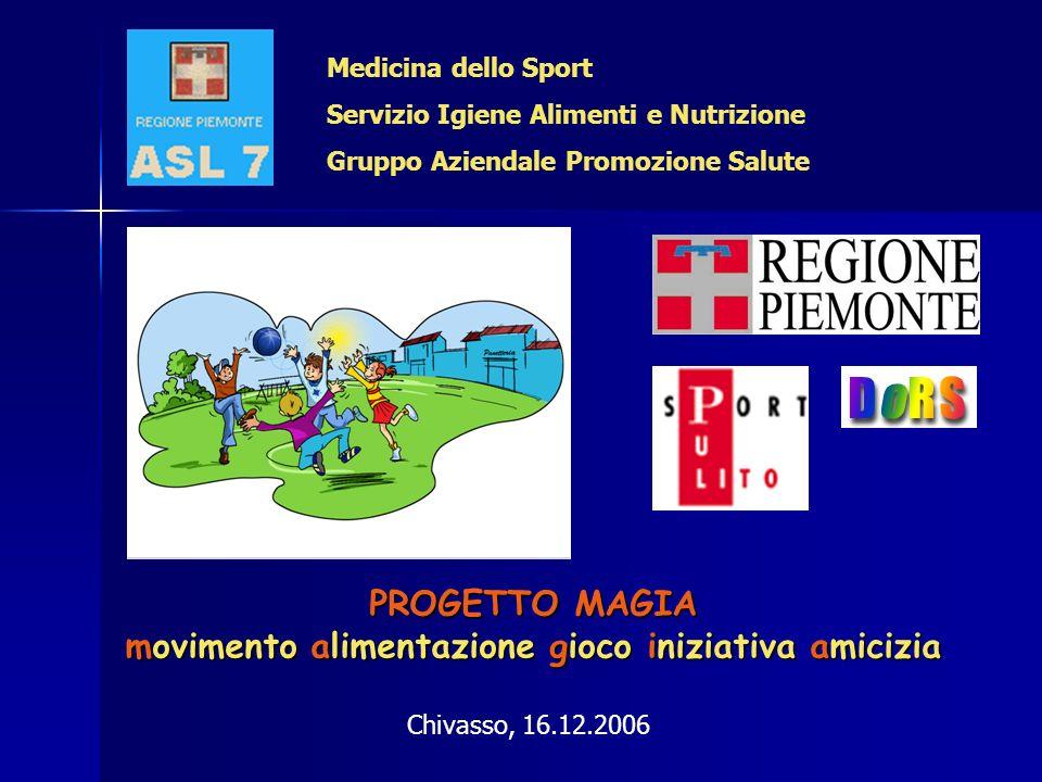 PROGETTO MAGIA movimento alimentazione gioco iniziativa amicizia Medicina dello Sport Servizio Igiene Alimenti e Nutrizione Gruppo Aziendale Promozion