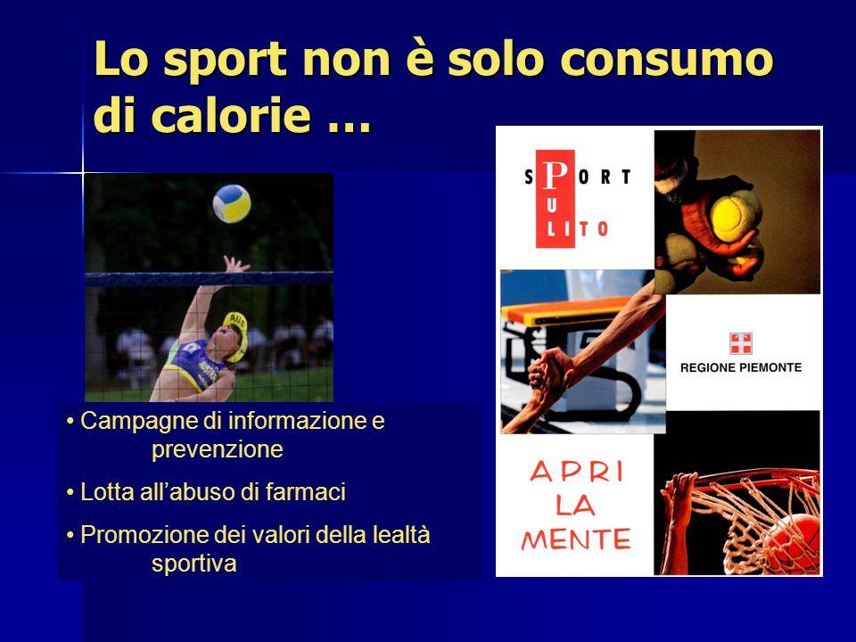 Lo sport non è solo consumo di calorie … Campagne di informazione e prevenzione Lotta allabuso di farmaci Promozione dei valori della lealtà sportiva