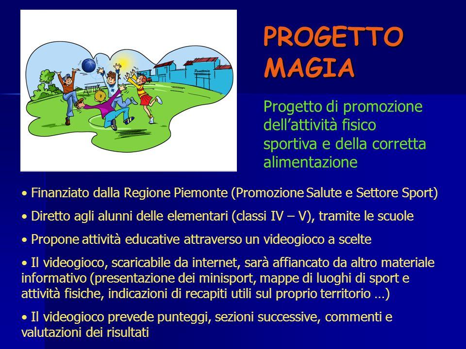 PROGETTO MAGIA Finanziato dalla Regione Piemonte (Promozione Salute e Settore Sport) Diretto agli alunni delle elementari (classi IV – V), tramite le