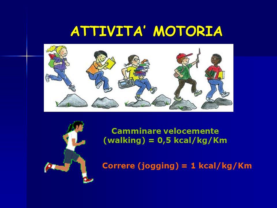 ATTIVITA MOTORIA Camminare velocemente (walking) = 0,5 kcal/kg/Km Correre (jogging) = 1 kcal/kg/Km