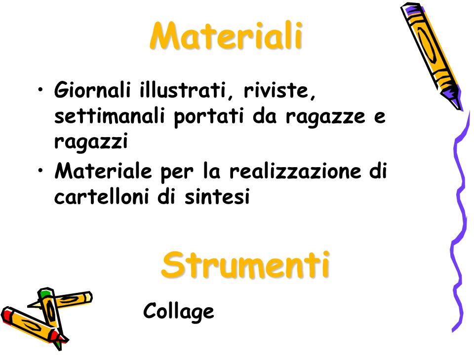 Materiali Giornali illustrati, riviste, settimanali portati da ragazze e ragazzi Materiale per la realizzazione di cartelloni di sintesi Strumenti Col