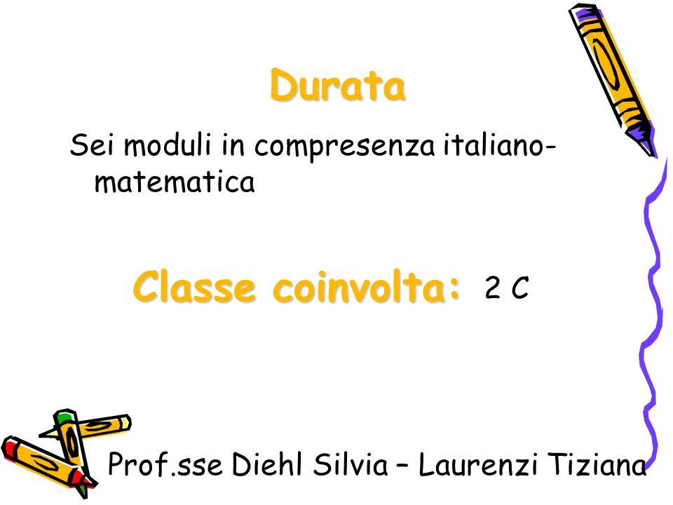 Durata Sei moduli in compresenza italiano- matematica Classe coinvolta: 2 C Prof.sse Diehl Silvia – Laurenzi Tiziana