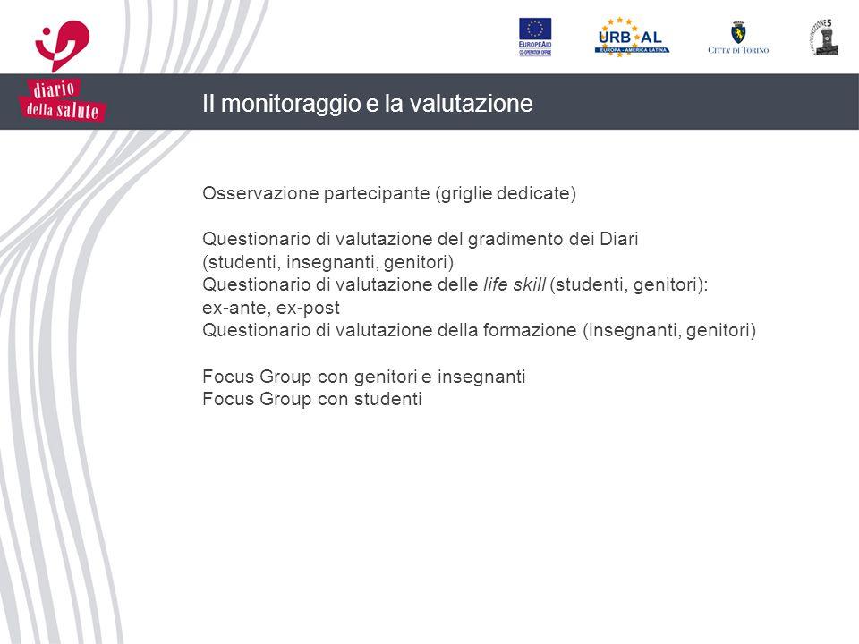Il monitoraggio e la valutazione Osservazione partecipante (griglie dedicate) Questionario di valutazione del gradimento dei Diari (studenti, insegnan