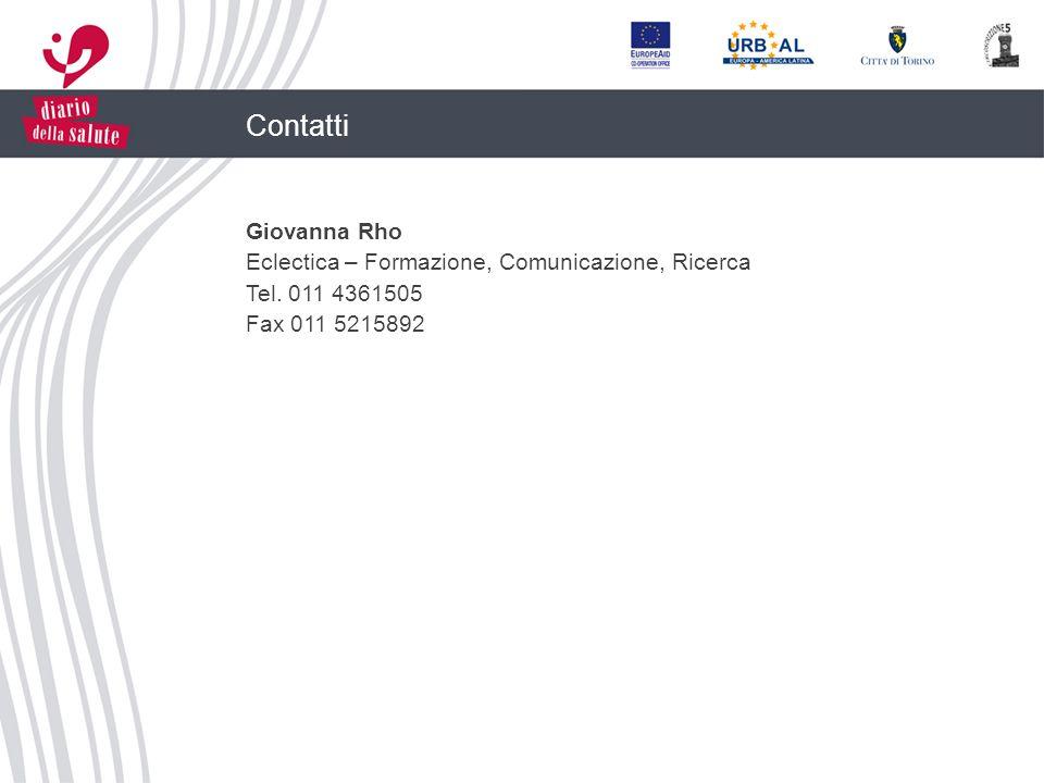 Contatti Giovanna Rho Eclectica – Formazione, Comunicazione, Ricerca Tel. 011 4361505 Fax 011 5215892