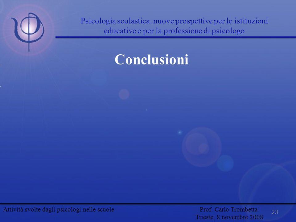 23 Conclusioni Attività svolte dagli psicologi nelle scuole Prof. Carlo Trombetta Trieste, 8 novembre 2008 Psicologia scolastica: nuove prospettive pe