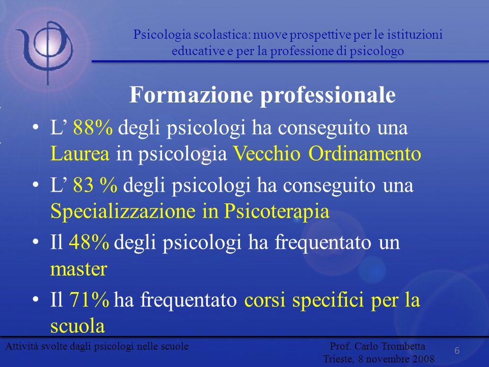 L 88% degli psicologi ha conseguito una Laurea in psicologia Vecchio Ordinamento L 83 % degli psicologi ha conseguito una Specializzazione in Psicoter