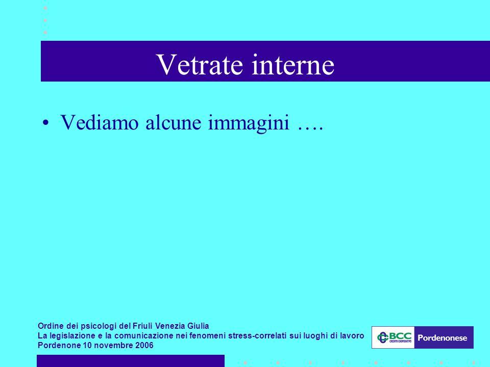 Ordine dei psicologi del Friuli Venezia Giulia La legislazione e la comunicazione nei fenomeni stress-correlati sui luoghi di lavoro Pordenone 10 novembre 2006 Vetrate interne Vediamo alcune immagini ….